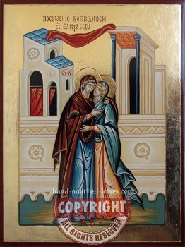 The visit of Mary to Elizabeth hand-painted-icon