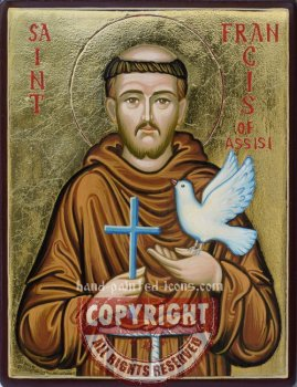 St Francis of Assisi-v2- hand-painted icon