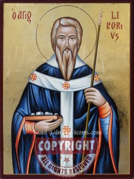 St Liborius-catholic saint- hand-painted icon-28x21cm