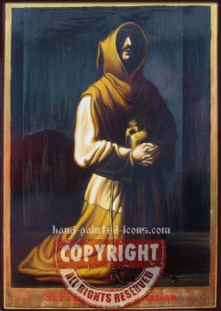 St Francis in meditation-hand-painted-icon