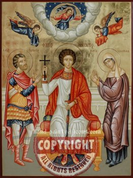 Saint George and his parents-Gerontius-and-Polychronia-orthodox-icon