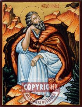 Saint Prophet Elijah in the cave- hand-painted icon
