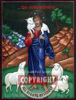 Christ-The Good Shepherd-v1-hand-painted-icon
