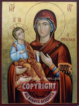 Panagia-Tricherousa-hand-painted-icon