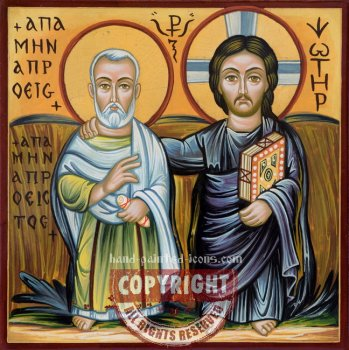 Saint Minas and Christ-hand-painted-coptic icon