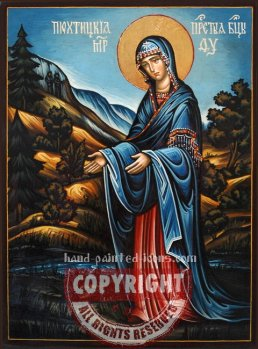 The Holy Virgin-Pyhtitskaya-At the source-hand-painted-icon