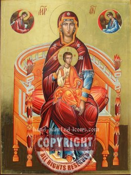 The Holy Virgin on throne-hand-painted-icon