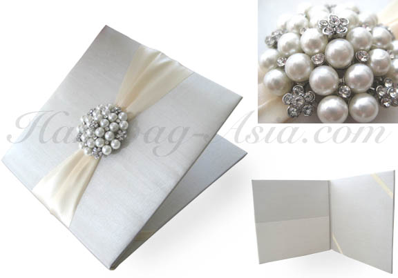 Luxury Ivory Pocket Folder With Pearl Brooch For Wedding Invitation Cards