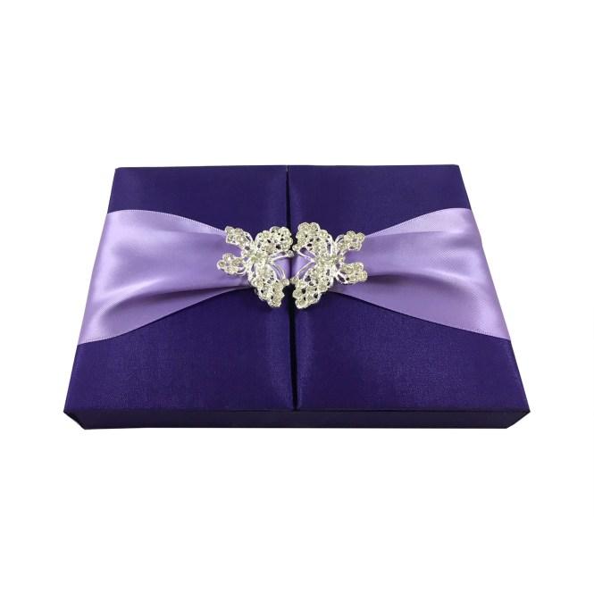 Beautiful Purple Orchid Erfly Wedding Gatefold Box