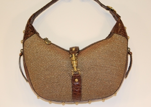 Eric Javits Gold Studded Squishee Chip Hobo with Brown Crocodile Leather Handbag Consignment Shop