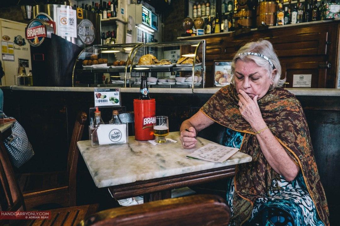 old lady in a bar rio de janeiro brazil