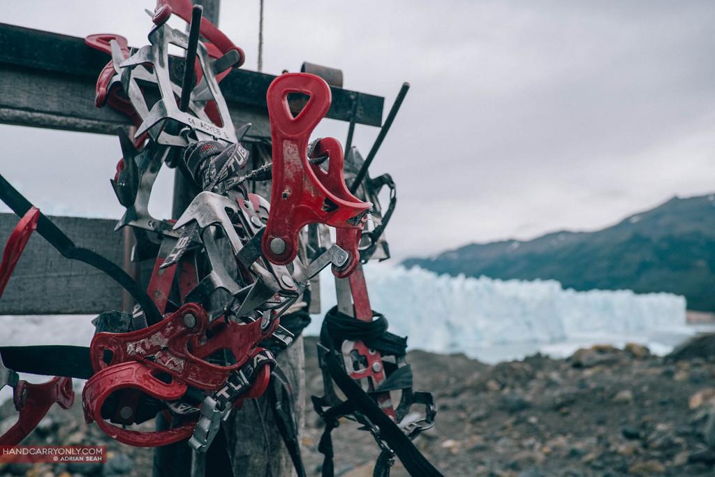 crampons at perito moreno glacier in patagonia argentina