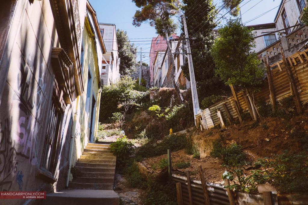 steep slope, stairs, valparaiso, chile