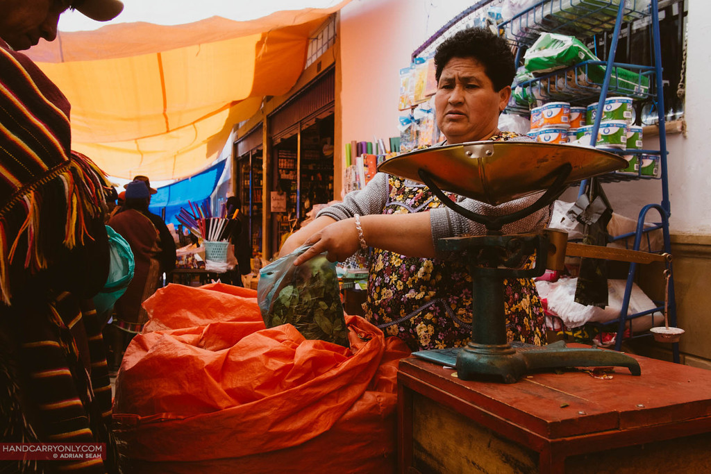 lady selling coca leaves, tarabuco, bolivia