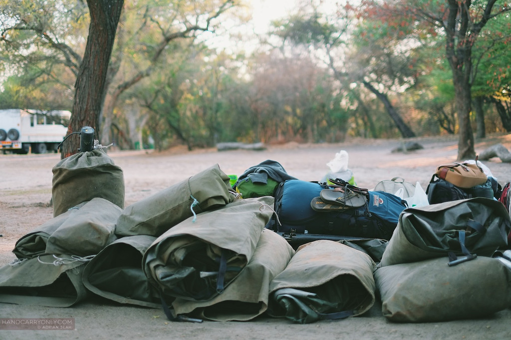 tents and bags packed okavango delta