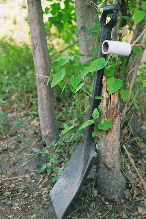 spade and paper bush toilet okavango delta