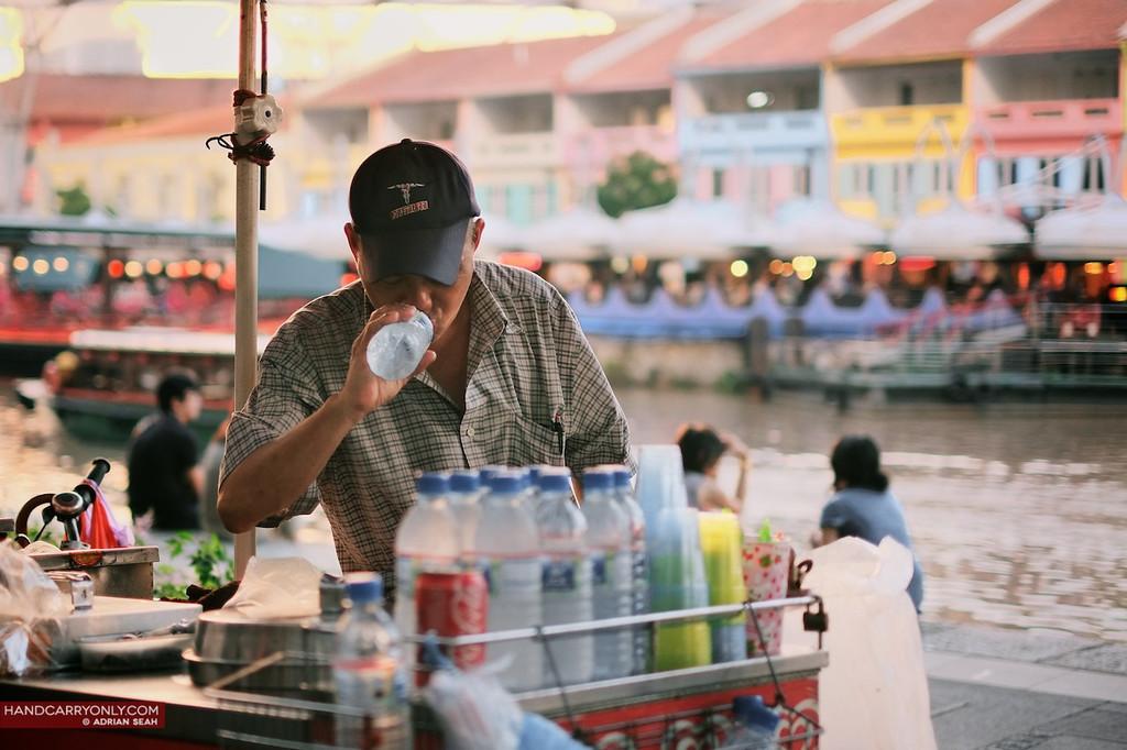 ice cream man drinking water