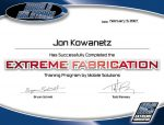 Certificate of completion for a fabrication training class.