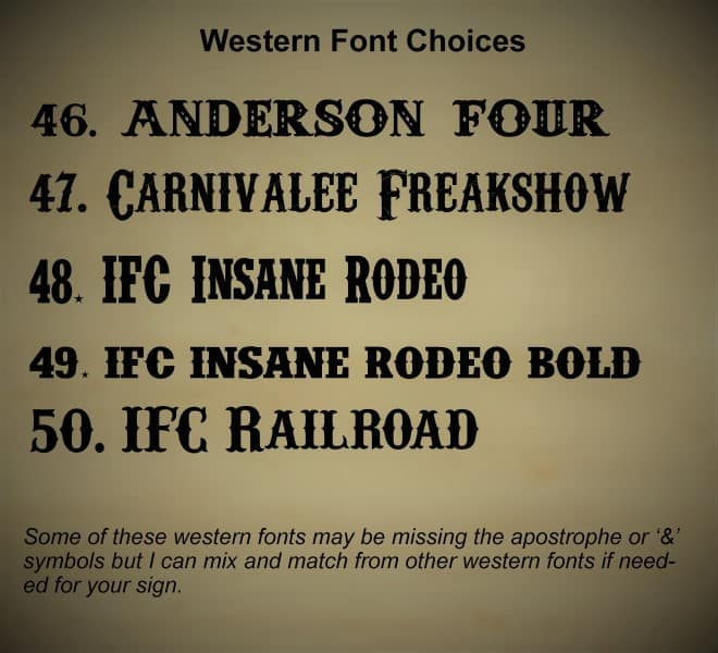 Picture of western font styles available