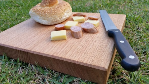 cheese board made from australian grown hardwood Victorian Ash with cheese squares, kabana and knife