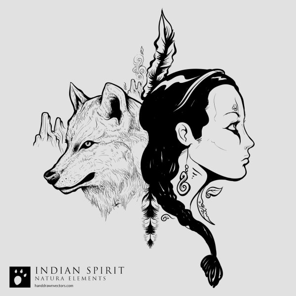 Indian-Girl-Wolf-Desert-Vector