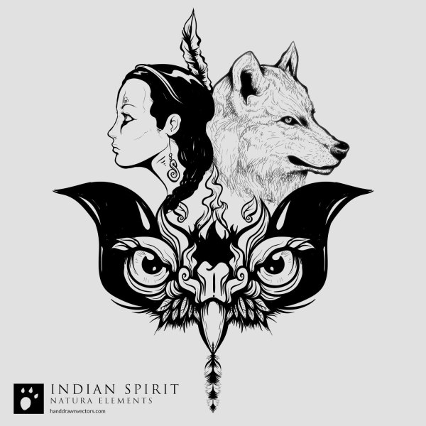 Indian-Girl-Wolf-Eagle-Vector
