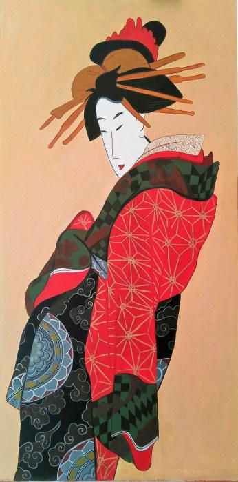 """Arte japonés """" Retrato de mujer japonesa inspirado en grabado de Teisai Hokuba (1770-1844) 60x30cm #210€#"""