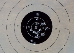 20 shots fired from a distance of approximately 7 yards. This gun is more than accurate enough for self-defense use.