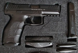 The VP9 includes magazines, grip inserts for the back and sidestraps, and HK swagger.