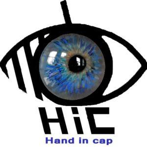 Logo du site IC, hand in cap, handicap et travail. On voit un œil bleu dans le pictogramme du handicap visuel