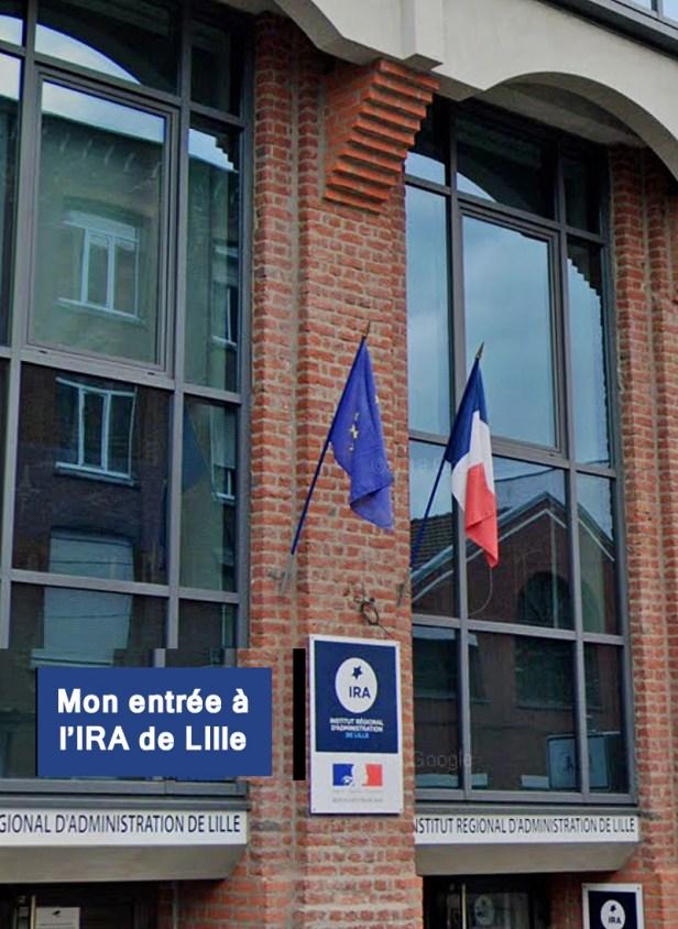 Photos en couleur présentant l'entrée de l'Institut Régional d'Administration de Lille avec le drapeau de l'Union Europe et celui de la France sur la façade