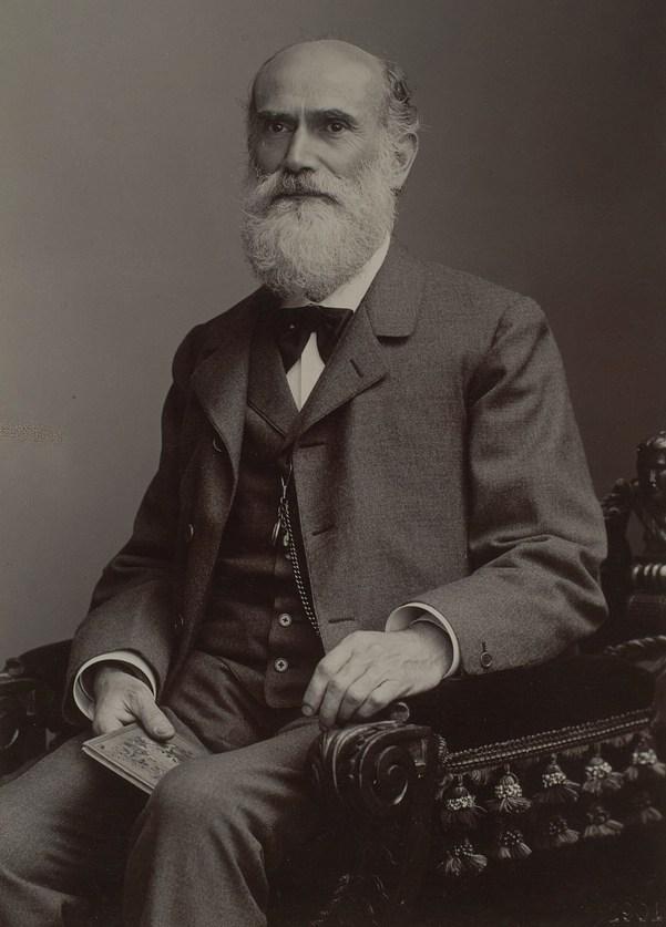 photographie en noir et blanc de Theodor Karl Gustav von Leber, premier ophtalmologiste à décrire la neuropathie otique héréditaire de Leber en 1871