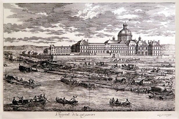 gravure représentant l'hôpital de la salpêtrière, vers 1660 qui est destiné au renfermement des mendiants