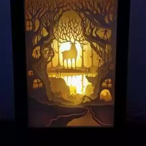 reindeer shadow box light box handmade diy project paper craft simple easy fun adult indoor home hobbies ideas,lantern svg file,lantern to personalize,lantern template,lantern vector,lantern with lights,lantern with personalization gift wall decor