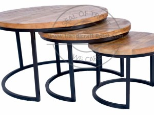 Iron Wooden Nested Coffee Table SET OF 3