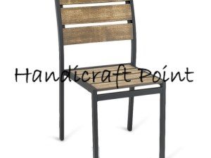 Iron Chair with Wooden seat and wooden back rest