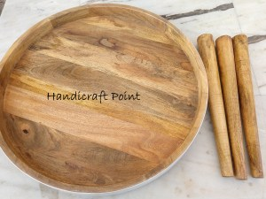Wooden Plate shaped table with 3 legs set of 2 pcs
