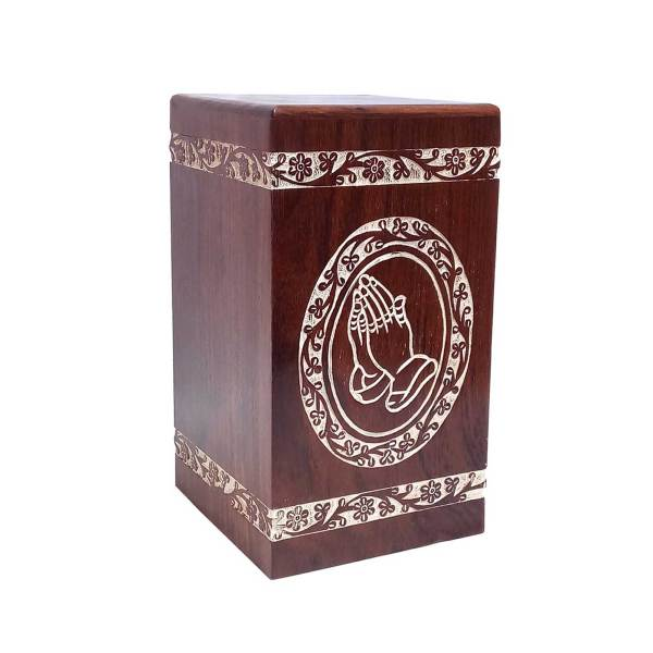 Wooden Hands Praying Cremation Urn For Human Ashes, Wood Burial Urns
