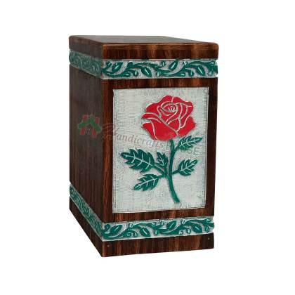 Hands Engraving Rose Flower Wooden Cremation Urns, Wood Funeral Urn for Human or Pet Ashes Adult – Hardwood Memorial Large Box in White, Green and Red Color