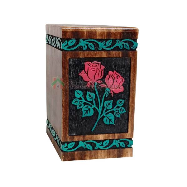 Hands Engraving Rose Flower Wooden Cremation Urns, Wood Funeral Urn for Human or Pet Ashes Adult - Hardwood Memorial Large Box