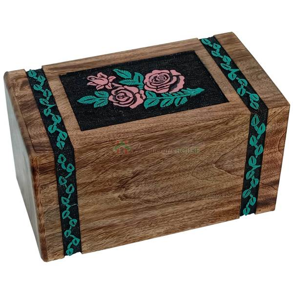 Hands Engraving Rose Flower Wooden Cremation Urns, Wood Funeral Urn for Human or Pet Ashes Adult - Hardwood Memorial Large Box in White, Green and Brown
