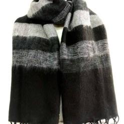 yak wool shawl stripe black