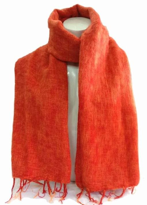 Himalayan Yak Wool Shawl Bright Orange color
