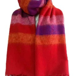 yak wool shawl stripe red