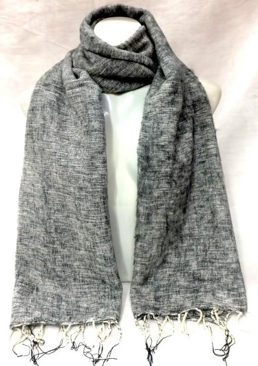 handwoven yak wool shawl light grey color