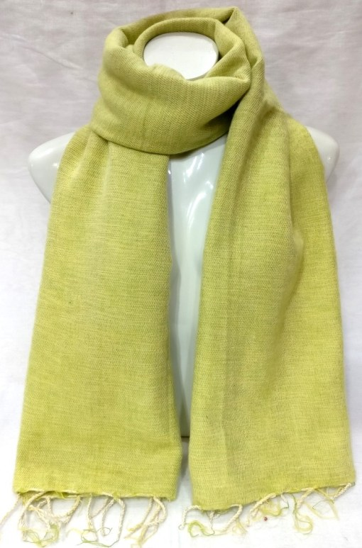 handwoven yak wool shawl lime color