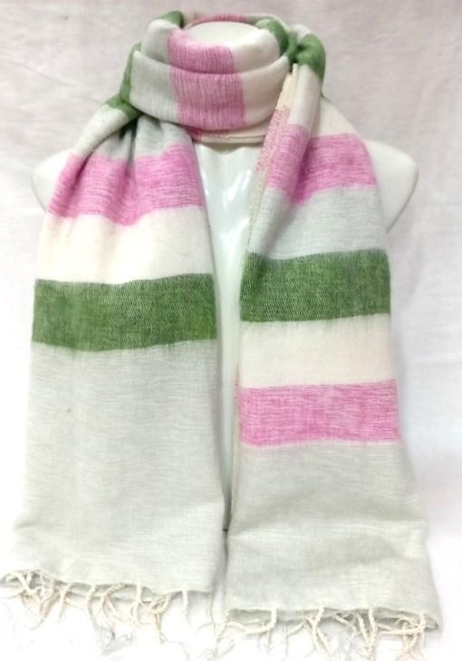 handloom yak wool shawl stripe green