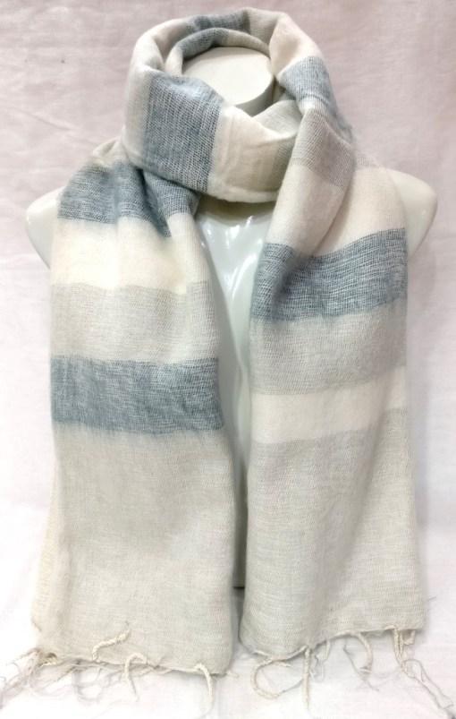 handloom yak wool shawl stripe light color