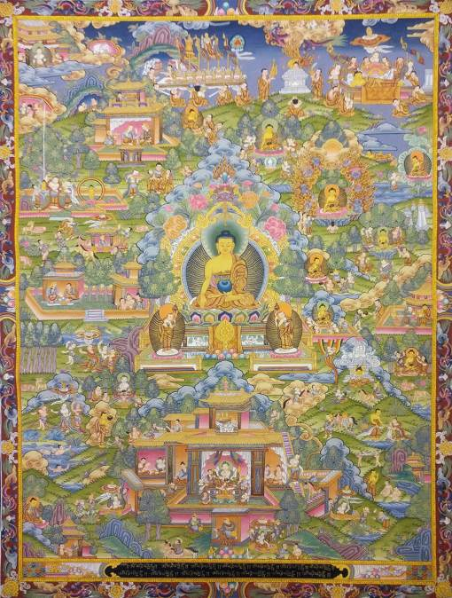 Life of Buddha Thangka Painting
