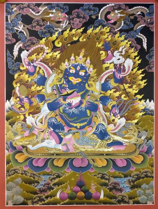 mahakala black golden thangka